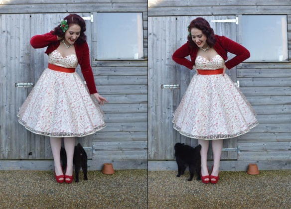 A pinup, her cat and her shed