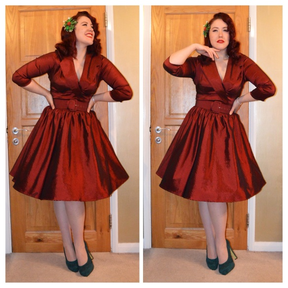The Dress Pinup Girl Clothing Birdie In Dark Red Raffeta Won From Deadly Is Female Occasion Worn For My Christmas Dinner Date With Dear