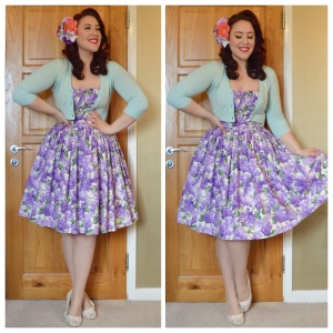 Bernie Dexter Lilac print Paris dress, Pinup Girl Clothing cropped ice blue cardigan, Asda sheer embroidered flats, handmade hair flowers
