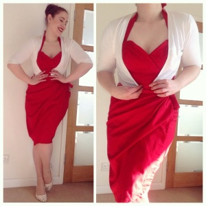Glamour Bunny Tiki Temptation dress in red, Primark cardigan, Asda sheed embroidered flats