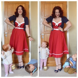 Pinup Girl Clothing Sailor Swing dress in red, old New Look cardigan, bangles eBay & Dorothy Perkins, shoes Everything5pounds.com, babies from my sister, lol