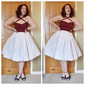 Burgundy Vixen Vondetta top by Doll Me Up Darling, custom white gathered skirt by etsy seller Pinsandneedlespinup, shoes Everything5pounds.com, bangles eBay & Dorothy Perkins