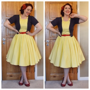 Pinup Girl Clothing Harley dress in yellow, also PUG red belt, old New Look cardigan, flats and hairflower handmade