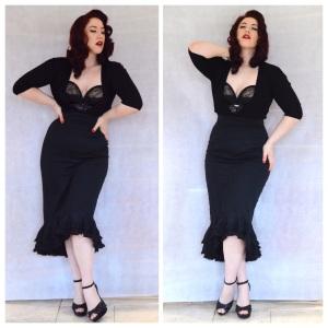 Von Follies longline Her Sexellency bra, Primark cardigan, Pinup Girl Clothing High Waisted Flamenco Mermaid skirt, eBay studded heels