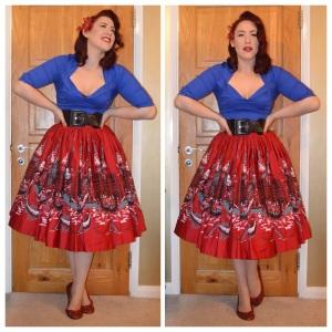 Pinup Girl Clothing Blue Doris top, also PUG Italian Landscape Jenny skirt, old Primark belt, handmade flats and hairflower