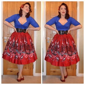 Pinup Girl Clothing Blue Doris top, also PUG Italian Landscape Jenny skirt, old Primark belt, handmade flats and hairflower