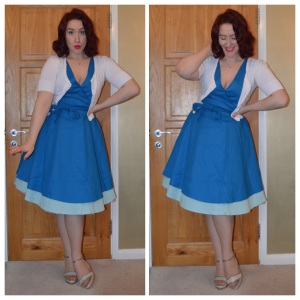 Lindybop Lora dress, Peacocks cardigan, New Look wedges