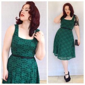 Voodoo Vixen Joanne dress, random skinny belt, old eBay lace bolero, New Look heels, Boss clutch