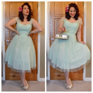 Unique Vintage Garden State dress in mint, vintage box purse, old Monsoon heels, handmade hair flowers