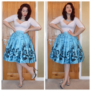Pinup Girl Clothing white Doris top and Blue Castle priunt Jenny skirt, Aliexpress necklace and handmade bedazzled heels