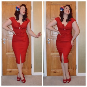 Pinup Girl Clothing Niagara dress in red, Everything5pounds.com red peeptoes, handmade hairflower