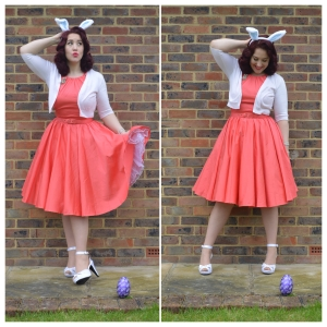 Pinup Girl Clothing Harley dress in Peach, Primark cropped cardigan, Pinup Couture heels