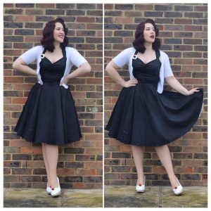 Doll My Up Darling Evening Dress in black, Primark cropped cardigan, handmade ice cream sundae shoes and brooch