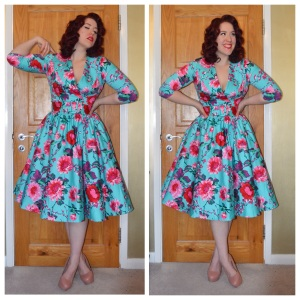 Pinup Girl Clothing Birdie dress in Turquoise and Pink Floral, nude Office heels