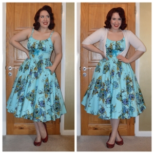 Pinup girl Clothing Ella dress in Blue, Primark cropped Cardigan, handmade bedazzled flats