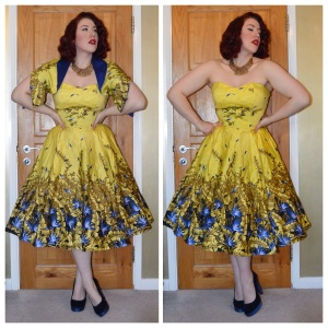 Pinup Girl Clothing Sea Siren Dress and Bolero in Mustard Yellow and Blue, New Look shoes, eBay necklace