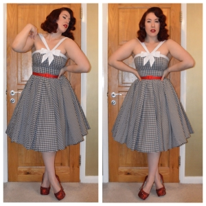 Unique Vintage gingham dress, Pinup Girl Clothing red slide belt, handmade bedazzled heels