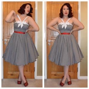 Unique Vintage gingham dress, Pinup Girl Clothing red slide belt, handmade bedazzled heels
