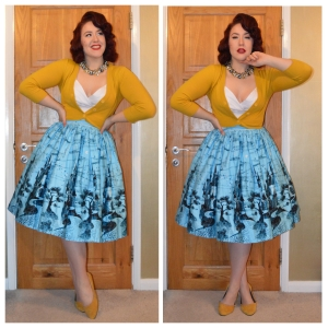Pinup Girl Clothing Zooey top in white, Jenny Skirt in Blue Castle print and Mustard Cropped Cardigan, eBay necklace and eBay flats