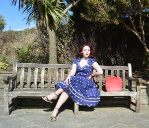 Voodoo Vixen Joni dress, vintage vanity case, old Very.co.uk wedges, bangles eBay & Dorothy Perkins