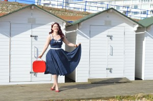 Pinup Girl Clothing Molly dress in Navy, handmade flats, vintage vanity case, bangles eBay & Dorothy Perkins
