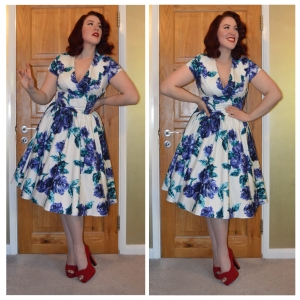 Pinup gGirl Clothing Birdie dress in Blue Vintage Roses print, shoes Everything5pounds.com