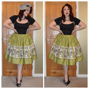 Pinup Girl Clothing Commuter Jenny skirt worn over Pinup Girl Clothing Black Jenny dress, old New Look wedges, Pinup Girl Clothing black belt, Pinup Girl Clothing Cocktail dish fascinator
