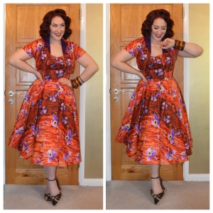 Pinup Girl Clothing Orange Hawaiian Hideaway dress, ebay bangles, old Very.co.uk wedges