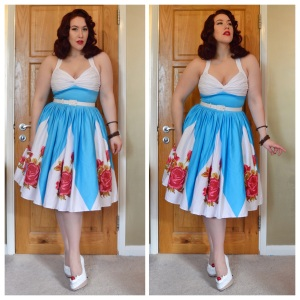 Pinup Girl Clothing Rose Border Print Lydia dress, eBay bangles, handmade ice cream shoes