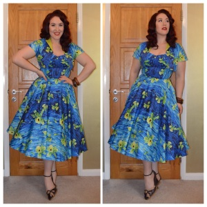 Pinup Girl Clothing Blue Hawaiian Hideaway dress, eBay bangles, old Very.co.uk wedges