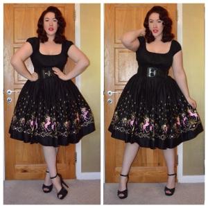 Pinup Girl Clothing Black Peasant top, Pinup Girl Clothing Dancing Horses print Jenny skirt, old Primark belt, eBay spiked black heels