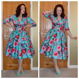Pinup Girl Clothing Turquoise and Pink Birdie dress, New Look ballet flats