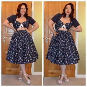 Pinup Girl Clothing Renee dress in anchor print, old New Look cropped cardigan, Pinup Girl Clothing Bettie heels in Ivory