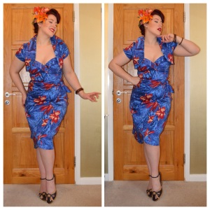Pinup Girl Clothing Blue Malibu Tiki dress, Daisy Jean Florals custom tiki hair piece, eBay bangles, old Very.co.uk wedges