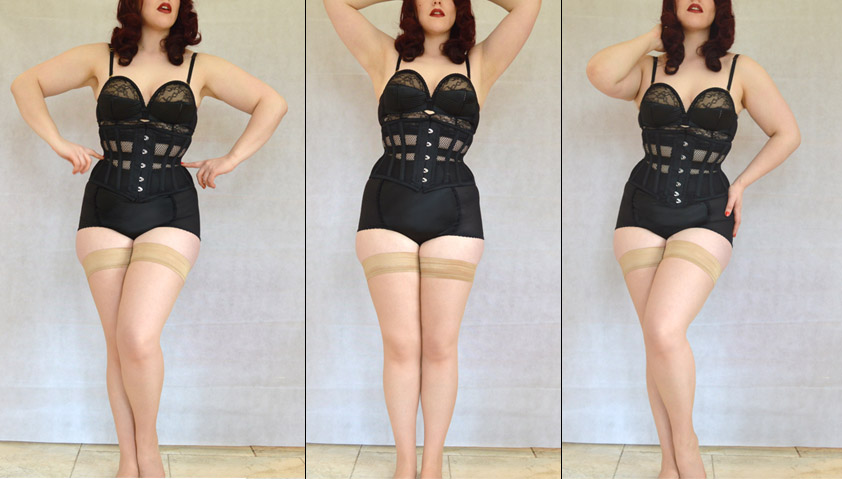 Women Underbust Slimming Corset Waist Trainer Satin Lingerie Waspie Boned Shaper