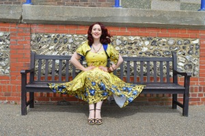 Pinup Girl Clothing Mustard Sea Siren dress, eBay bangles, old Very.co.uk wedges