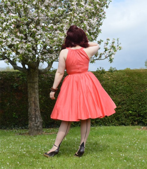 Pinup Girl Clothing Harley Dress Peach back