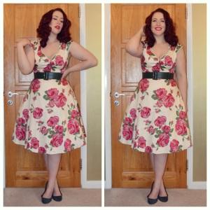 Lady V London Pink Rose on Cream Isabella dress, Pinup Girl Clothing dark green belt, H&M old ballet flats