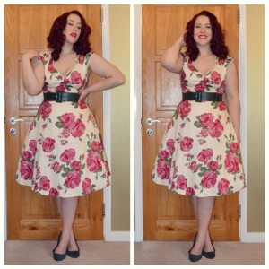 Lady V London Pink Rose on Cream Isabella dress, Pinup Girl Clothing dark green belt, H&M old ballet flats