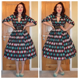 Pinup Girl Clothing Turquoise Harlequin print Lauren top and Jenny skirt, old eBay belt, Truffle heels, eBay necklace