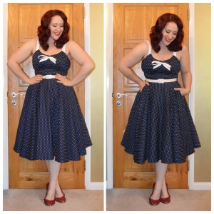 Pinup Girl Clothing navy Molly dress, handmade red bedazzled ballet flats