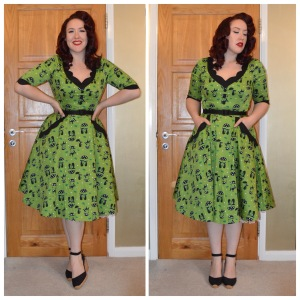Voodoo Vixen Katnis dress, Pinup Girl Clothing slide belt, Tesco F&F Black Espadrille wedges