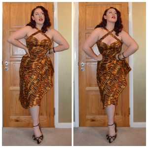 Pinup Girl Clothing Voodoo Vixen dress in tiger print, eBay & charity shop bangle assortment, old Very.co.uk wedges