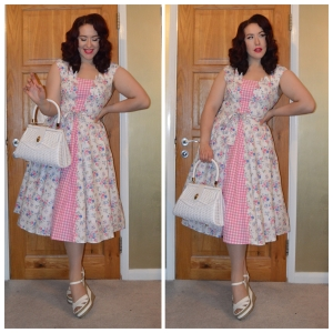 Love Ur Look floral Picnic dress, Pinup Girl Clothing white Wicker handbag, old New Look wedges