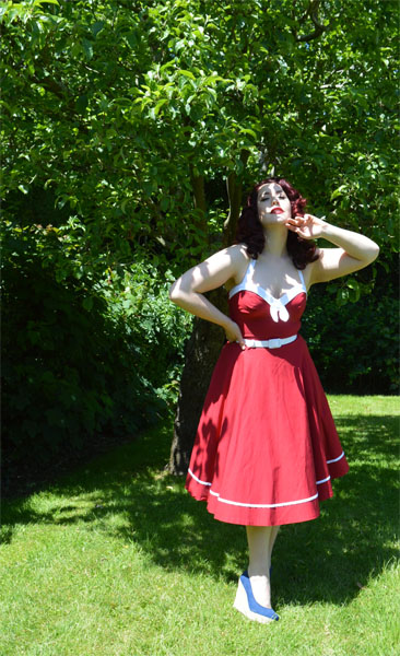 Pinup Girl Clothing Red Sailor Swing Dress