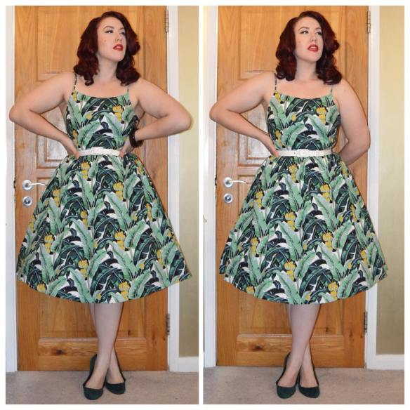 Banana Leaf Marlene Dress by Lindy Bop, Pinup girl Clothing White Grommet belt, old H&M green ballet flats