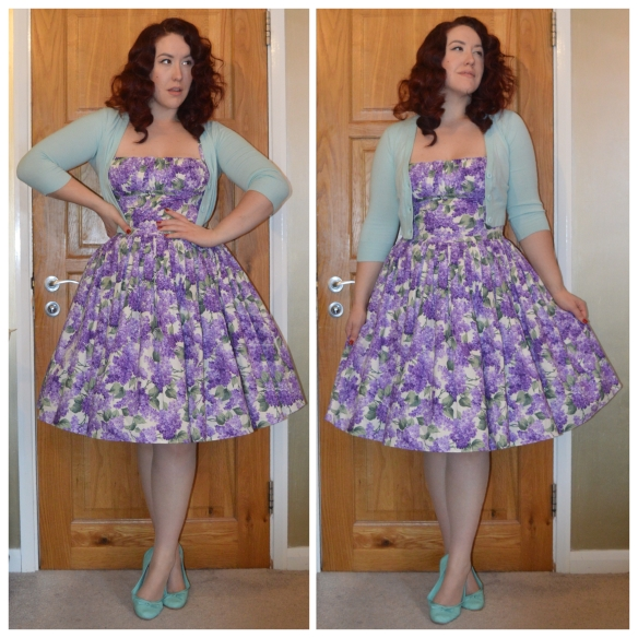 Lilacs print Paris dress by Bernie Dexter, Ice blue cropped cardigan from Pinup Girl Clothing, ice blue ballet flats from New Look