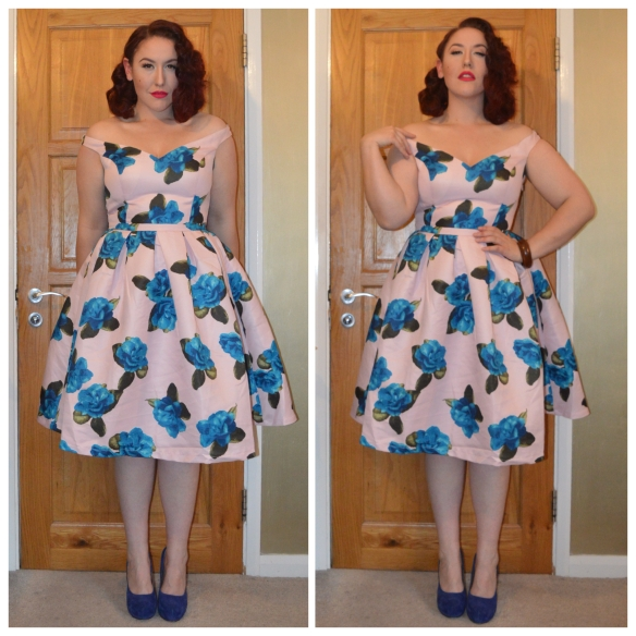 Rosa dress by Chi Chi Clothing, Blue Suede heels from Truffle, wooden bangles from eBay