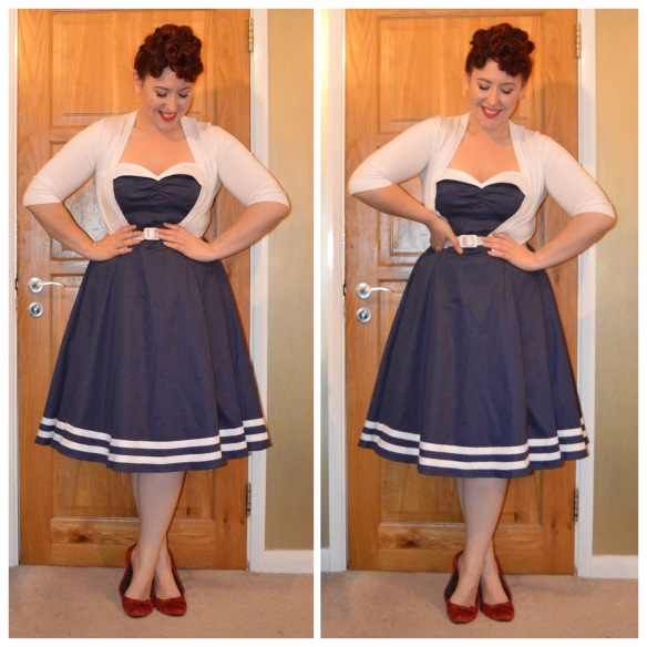 Sailor Ginger dress by Collectif, Cropped White cardigan by New Look, old red ballet flats from Accessorize
