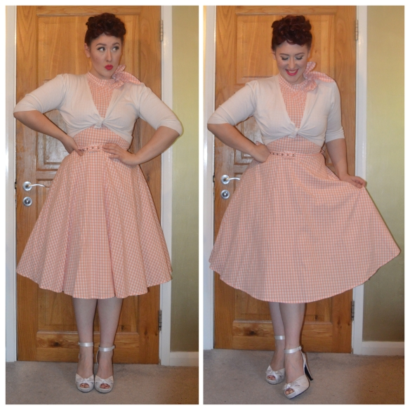 Chelsea dress by Voodoo Vixen, cropped cardigan from Primark, Ivory Bettie heels from Pinup Girl Clothing